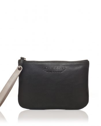 Pochette noire en cuir Bonnie and Bag