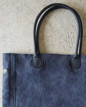 Sac cabas en lin bleu marine par Bonnie and Bag