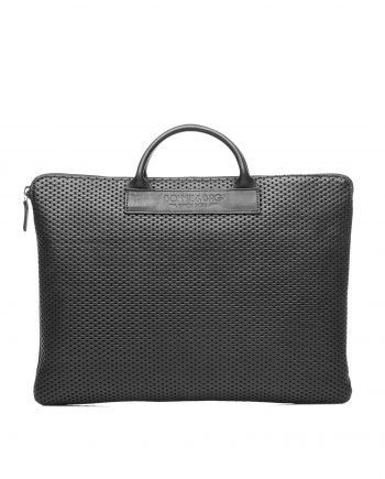 Sac ordinateur cuir noir perforé par Bonnie and Bag
