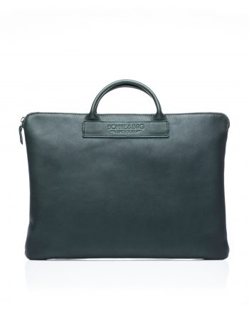 Sac ordinateur en cuir vert Vadrouille par Bonnie and Bag © Thomas Behuret