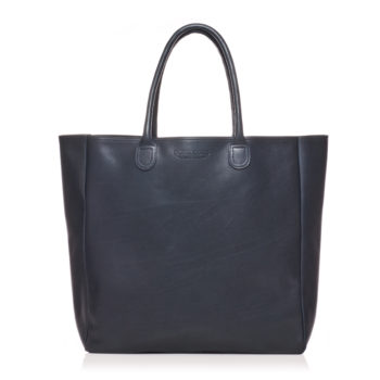 CAVBL grand sac cabas cuir bleu scaled