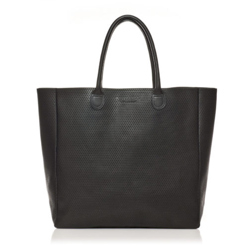 CAVNP grand sac cabas cuir noir scaled