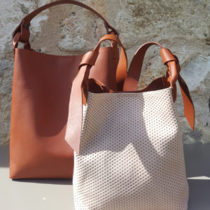 Sac nubuck et cuir Nude/Brique Escapade par Bonnie and Bag