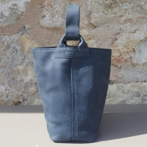 Sac seau en nubuck gris bleu Escapade Par Bonnie and Bag