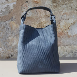 Petit cabas nubuck gris bleu Escapade Par Bonnie and Bag