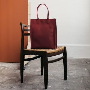 Grand cabas haut en cuir Bordeaux Compagnon par Bonnie and Bag