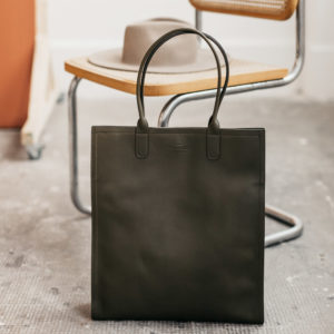 Sac vertical cuir olive compagnon
