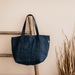 Cabas lin Marine par Bonnie and Bag